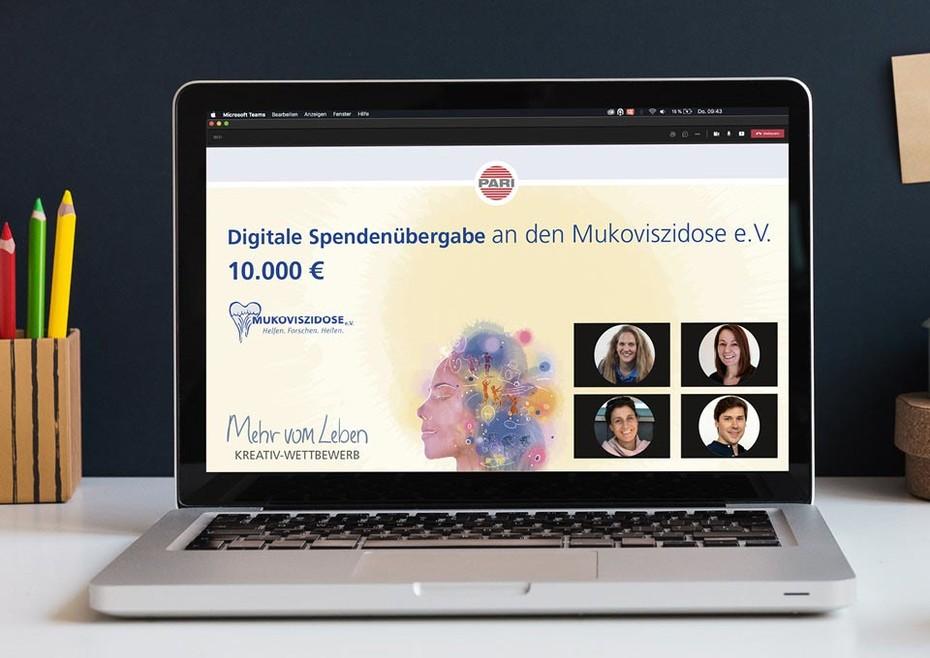 """PARI unterstützt mit Spendenerlös des """"Mehr vom Leben"""" Kreativ-Wettbewerbs den Mukoviszidose e.V."""