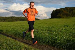 Rainer Heske - running with an organ donation shirt