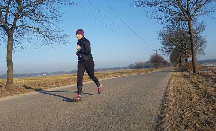 Christine Braune bei einem ihrer Lauftrainings - natürlich an der frischen Luft